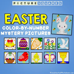 Easter Color-By-Number Mystery Pictures Activities