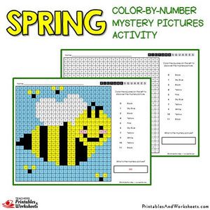 Spring Coloring Activity Color by Number Mystery Pictures Sample 1
