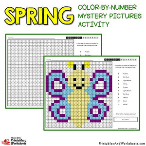 Spring Coloring Activity Color by Number Mystery Pictures Sample 2