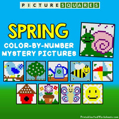 Spring Color-By-Number Mystery Pictures Activities