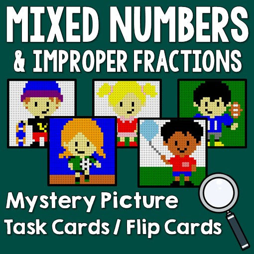 Mixed Numbers and Improper Fractions Activities Mystery Pictures Task Cards/Flip Cards Cover