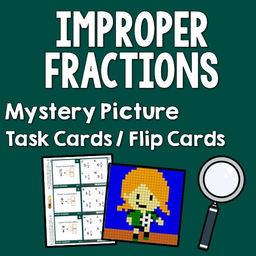 Improper Fractions Mystery Pictures Task Cards/Flip Cards