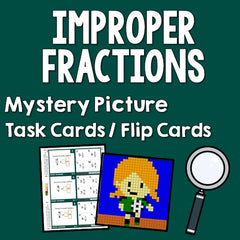 Improper Fractions Mystery Picture Task Cards With Coloring Worksheets