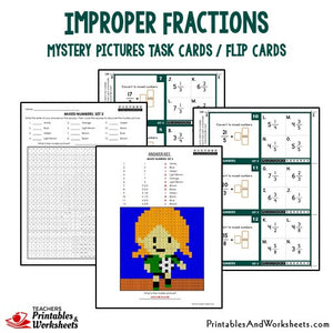 Improper Fractions Mystery Pictures Task Cards/Flip Cards Sample