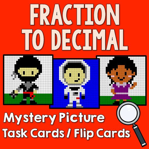 Fraction to Decimal Mystery Pictures Activity Task Cards/Flip Cards Cover