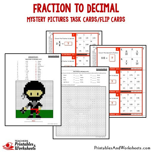 Fraction to Decimal Mystery Pictures Activity Task Cards/Flip Cards Sample