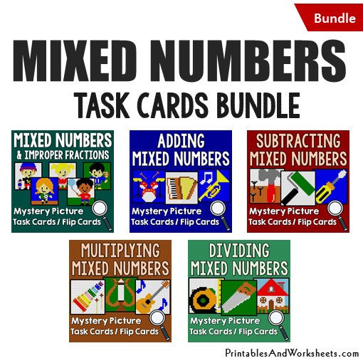 Mixed Numbers Mystery Pictures Task Card Bundle