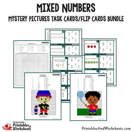 Mixed Numbers Mystery Pictures Task Card Bundle Sample 1