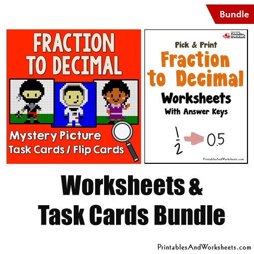 Fraction to Decimals Worksheets and Mystery Pictures Task Cards Bundle Cover