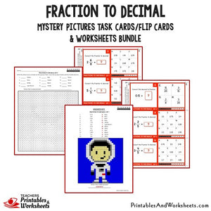 Fraction to Decimals Worksheets and Mystery Pictures Task Cards Bundle Sample 1