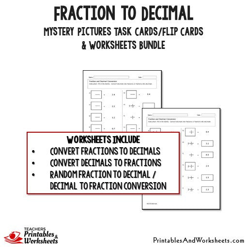 Fraction to Decimals Worksheets and Mystery Pictures Task Cards Bundle Sample 2