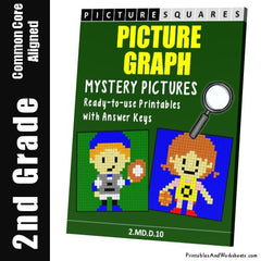 2nd Grade Picture Graph Mystery Pictures Coloring Worksheets