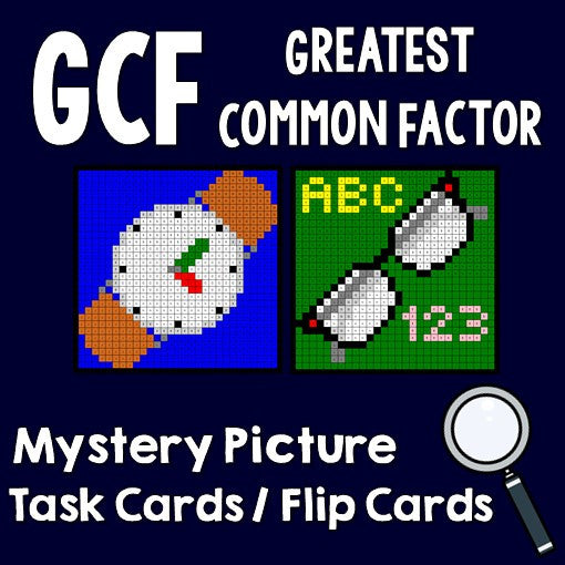 Greatest Common Factor (GCF) Activities Mystery Pictures Task Cards/Flip Cards Cover