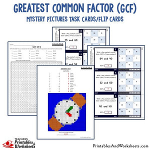 Greatest Common Factor (GCF) Activities Mystery Pictures Task Cards/Flip Cards Sample