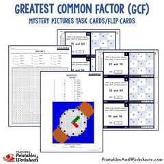 Greatest Common Factor (GCF) Coloring Worksheets