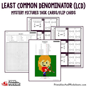 Least Common Denominator (LCD) Task Cards Sample