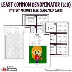 Least Common Denominator (LCD) Coloring Worksheets