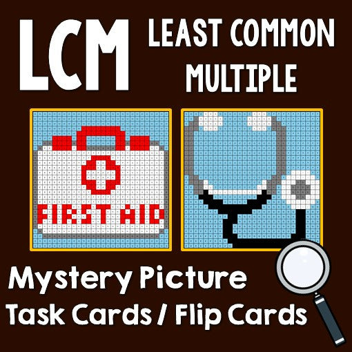 Least Common Multiple (LCM) Mystery Pictures Activities Task Cards/Flip Cards Cover