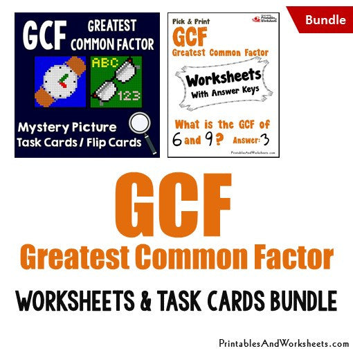 Greatest Common Factor (GCF) Worksheets and Mystery Pictures Task Cards Bundle Cover