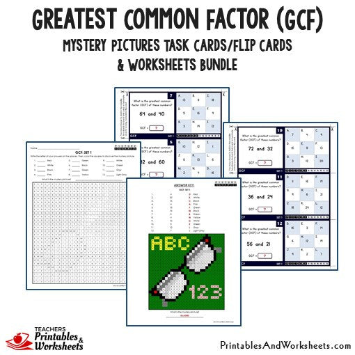 Greatest Common Factor (GCF) Bundle - Mystery Pictures Task Cards