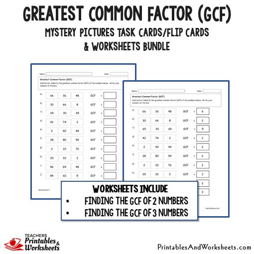 Greatest Common Factor Gcf Task Cards And Worksheets