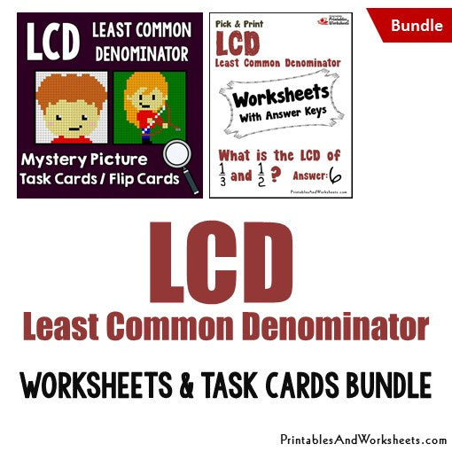 Least Common Denominator (LCD) Worksheets and Mystery Pictures Task Cards Bundle Cover