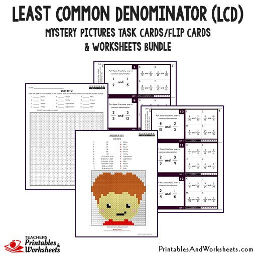 Least Common Denominator (LCD) Bundle - Mystery Pictures Task Cards