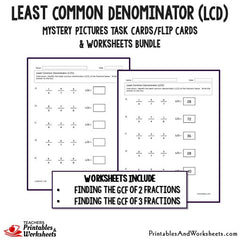 Least Common Denominator (LCD) Task Cards and Worksheets Bundle ...