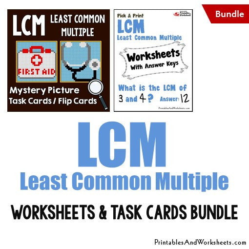 Least Common Multiple (LCM) Worksheets Mystery Pictures Task Cards Bundle Cover
