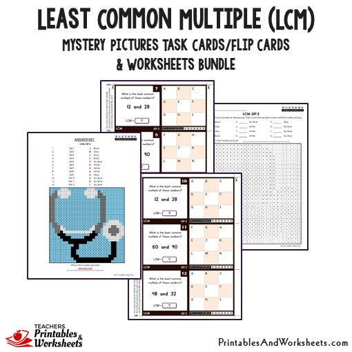 Least Common Multiple (LCM) Bundle - Mystery Pictures Task Cards
