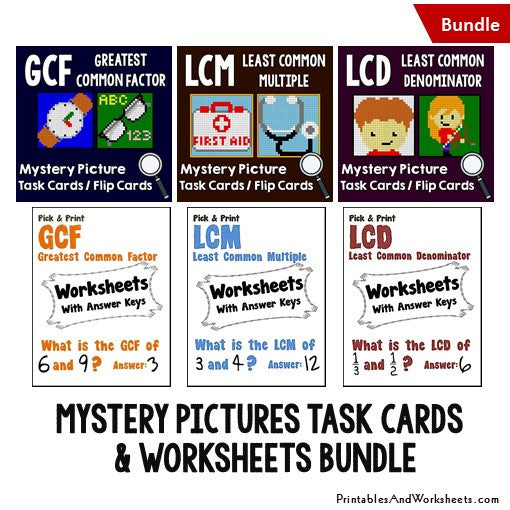 GCF LCD LCM Worksheets and Mystery Pictures Task Cards Bundle