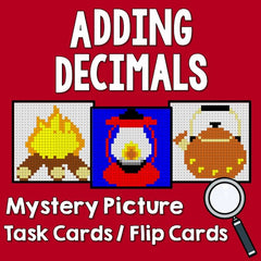 Adding Decimals Mystery Picture Task Cards with Coloring Worksheets