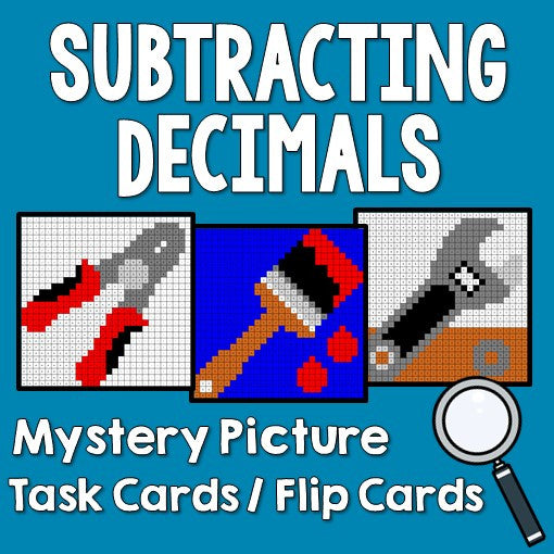 Subtracting Decimals Mystery Pictures Activities Task Cards/Flip Cards