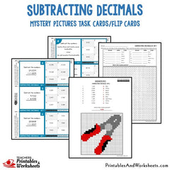 Subtracting Decimals Mystery Picture Task Cards With Coloring Worksheets