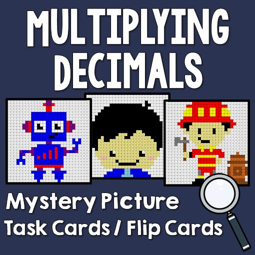 Multiplying Decimals Mystery Pictures Activities Task Cards/Flip Cards Cover