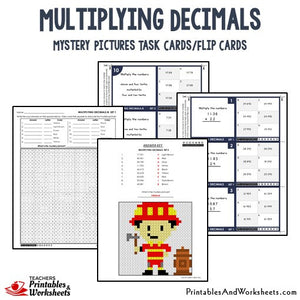 Multiplying Decimals Mystery Pictures Activities Task Cards/Flip Cards Sample