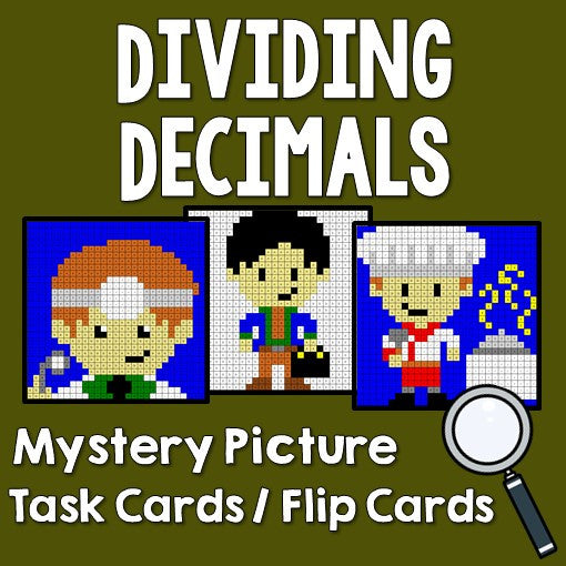 Dividing Decimals Activities Mystery Pictures Task Cards / Flip Cards Cover