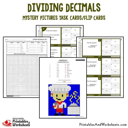 Dividing Decimals Activities Mystery Pictures Task Cards / Flip Cards Sample