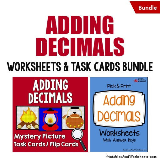 Adding Decimals Worksheets and Mystery Pictures Task Cards Bundle Cover