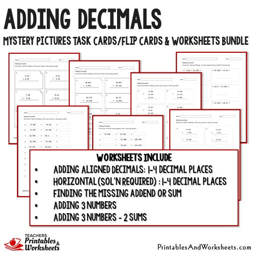 adding decimals task cards and worksheets bundle printables worksheets. Black Bedroom Furniture Sets. Home Design Ideas