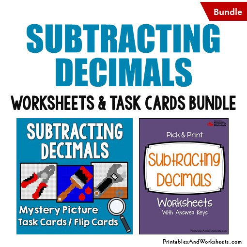 Subtracting Decimals Worksheets and Mystery Pictures Task Cards Bundle Cover