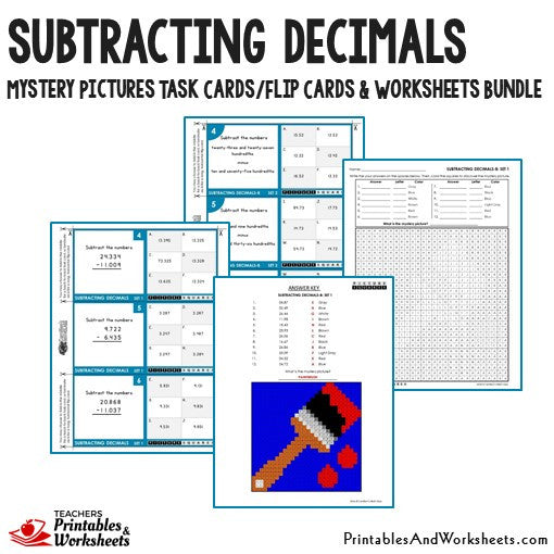 Subtracting Decimals Worksheets and Mystery Pictures Task Cards Bundle Sample 1