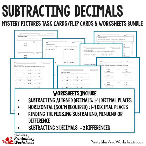 Subtracting Decimals Worksheets and Mystery Pictures Task Cards Bundle Sample 2