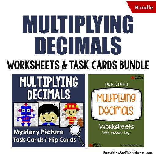 Multiplying Decimals Worksheets and Mystery Pictures Task Cards Bundle Cover
