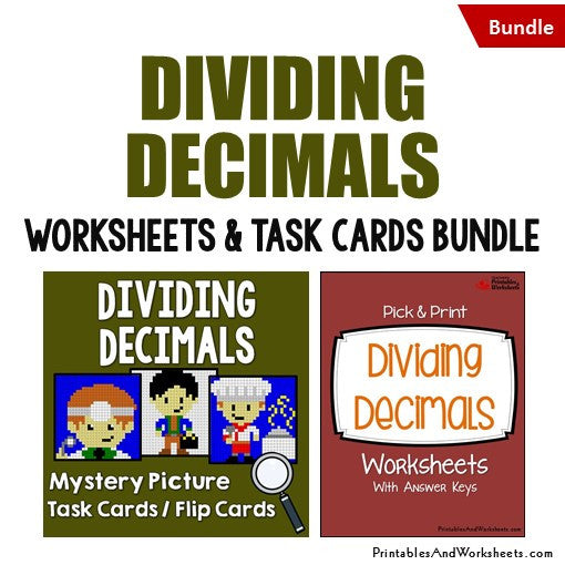Dividing Decimals Worksheets and Mystery Pictures Task Cards Bundle Cover