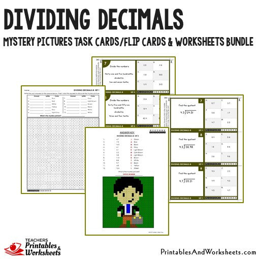 Dividing Decimals Worksheets and Mystery Pictures Task Cards Bundle Sample 1