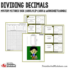 Dividing Decimals Task Cards and Worksheets Bundle