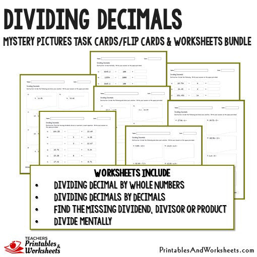 Dividing Decimals Worksheets and Mystery Pictures Task Cards Bundle Sample 2