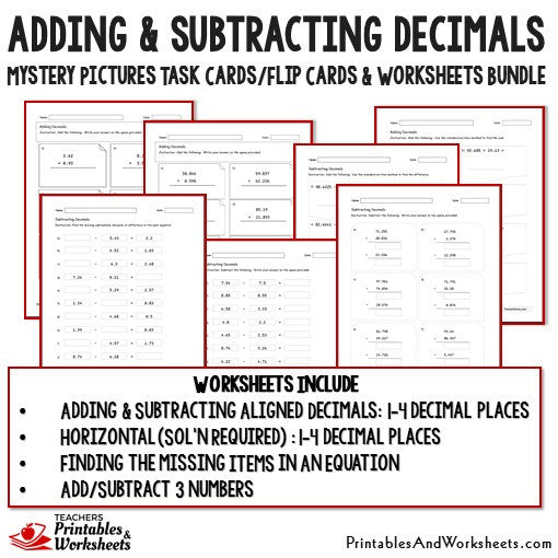 adding and subtracting decimals task cards and worksheets bundle printables worksheets. Black Bedroom Furniture Sets. Home Design Ideas