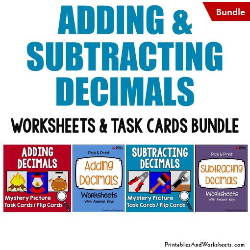 Adding and Subtracting Decimals Worksheets Mystery Picture Task Cards Bundle Cover